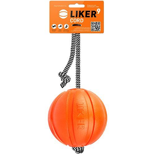 Игрушка для собак LIKER Мячик Корд на шнуре 9см оранжевый