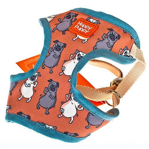 Шлейка для собак HAPPY PUPPY Мопсики унисекс размер 3 28см