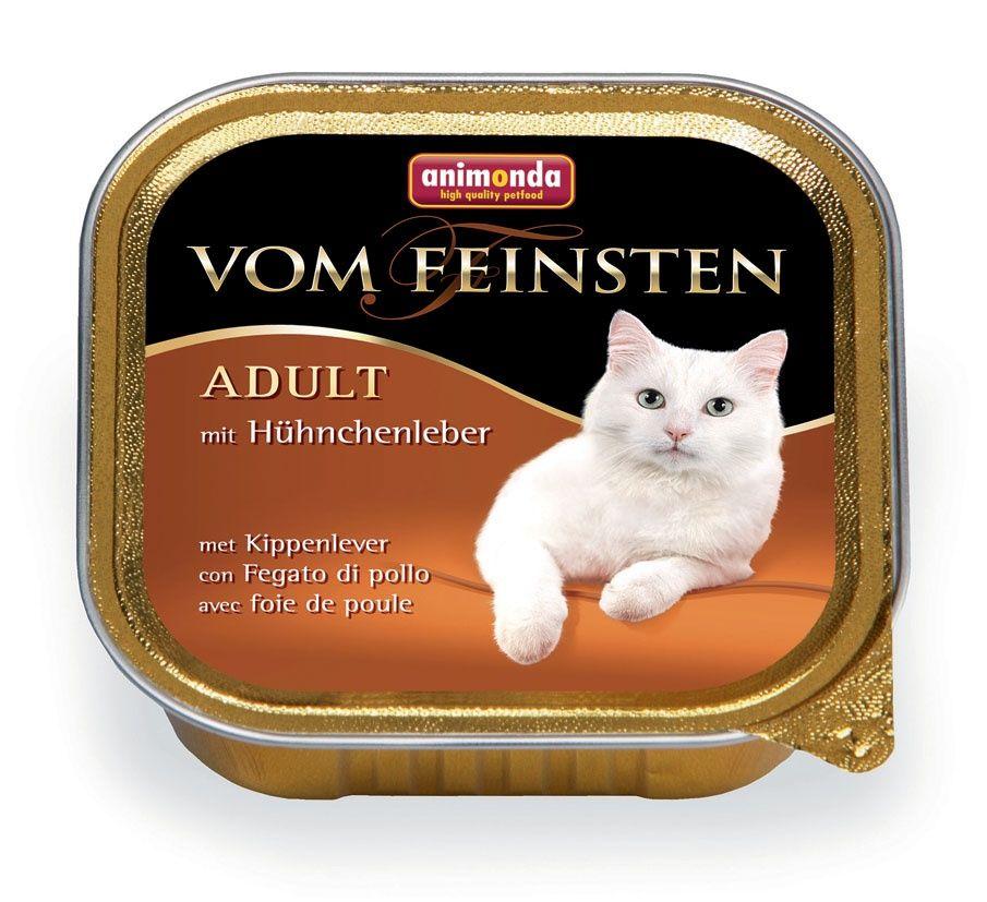 Фото - Корм для кошек Animonda Vom Feinsten Adult куриная печень конс. 100г консервы animonda vom feinsten adult с мясом домашней птицы и пастой для кошек 100г 83851
