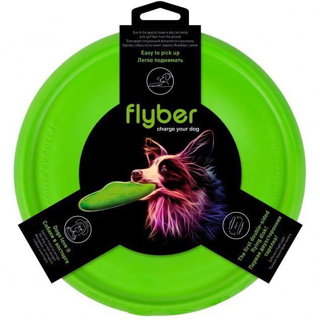 Игрушка для собак Flyber Летающая тарелка зеленая 22см
