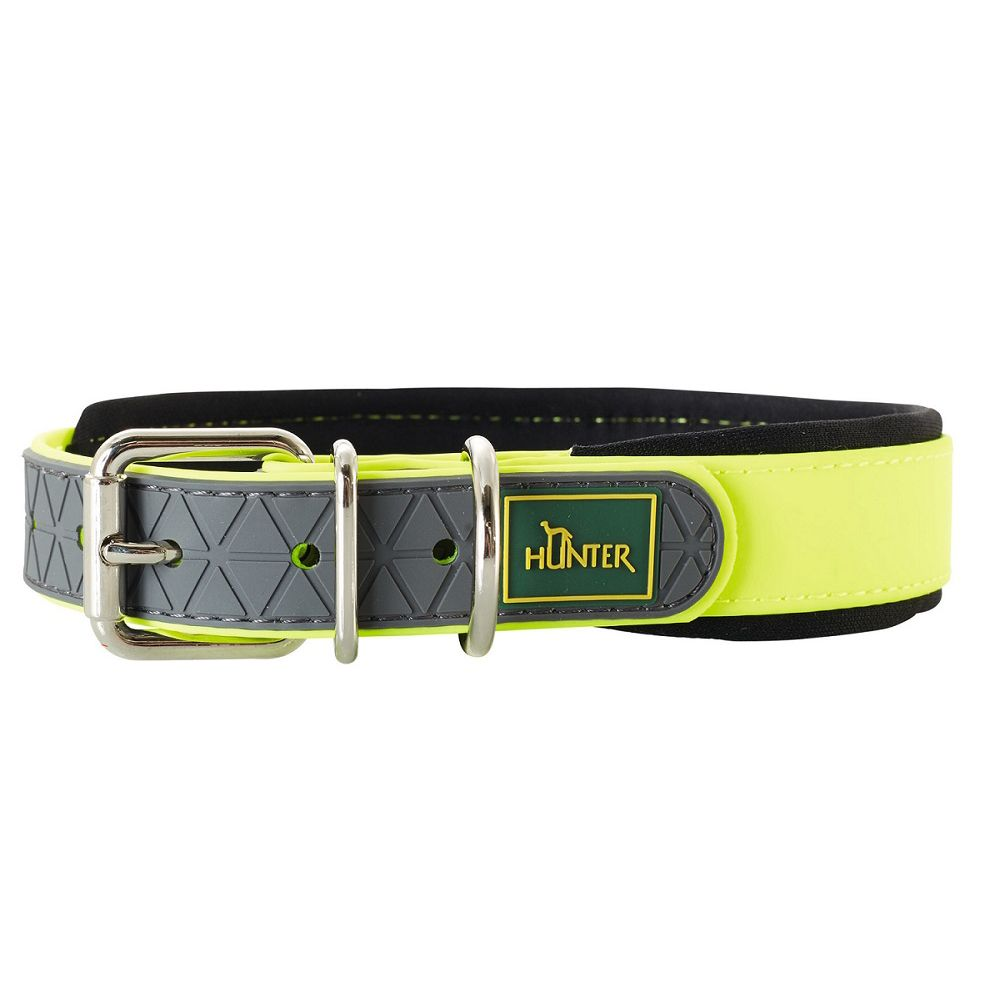 Ошейник для собак HUNTER Convenience Comfort 50 (37-45см)/2,5см биотан. мягк. горловина желтый неон фото