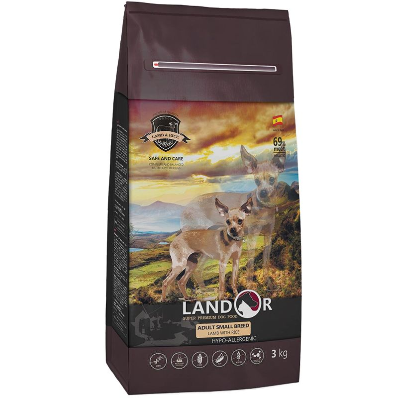 Корм для собак LANDOR для мелких пород, ягненок с рисом сух. 3кг корм для собак brit care medium breed для средних пород ягненок с рисом сух 3кг