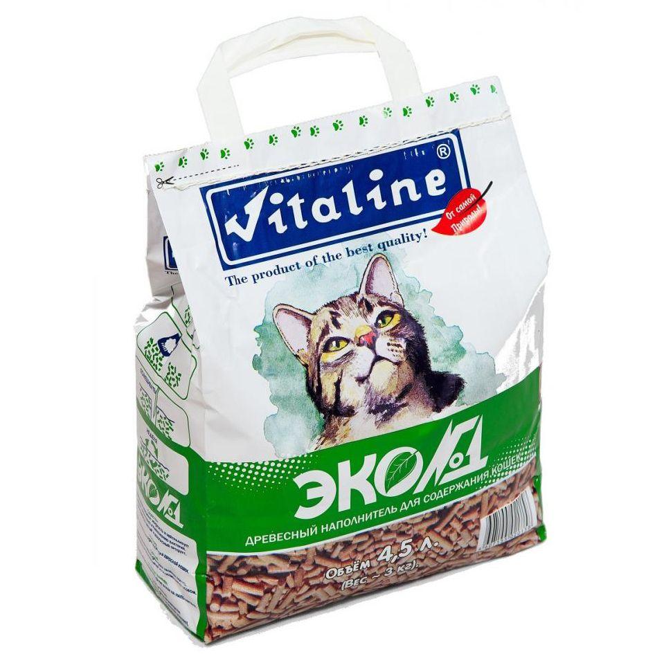 Наполнитель для кошачьего туалета VITALINE ЭКО №1 древесный, бум-пакет 3кг (4,5л) цена в Москве и Питере