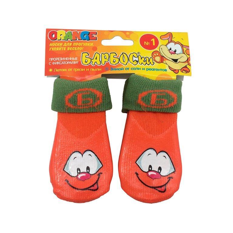 Носки для собак БАРБОСКИ высокое латексное покрытие, оранжевые с принтом, размер 1