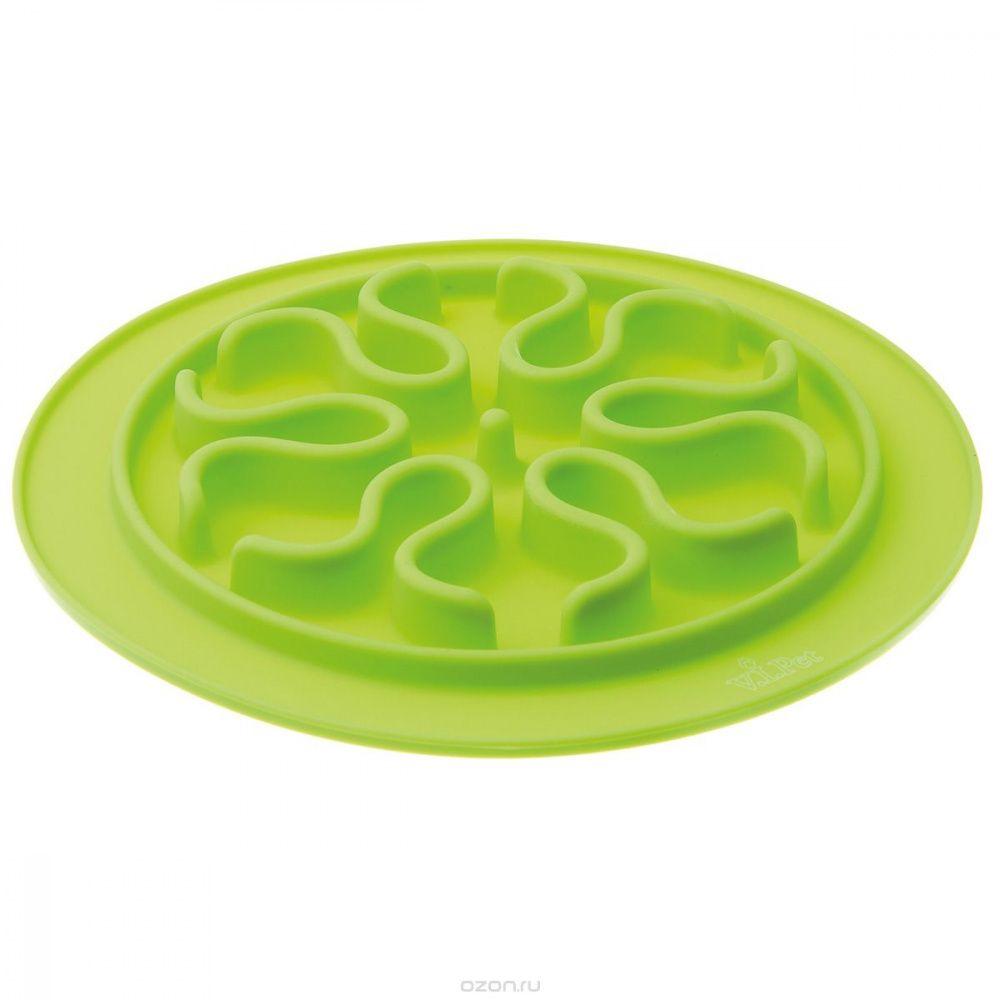 Миска V.I.PET силиконовая рельефная (волны) игровая для медленного поедания корма (салатовая) 24см