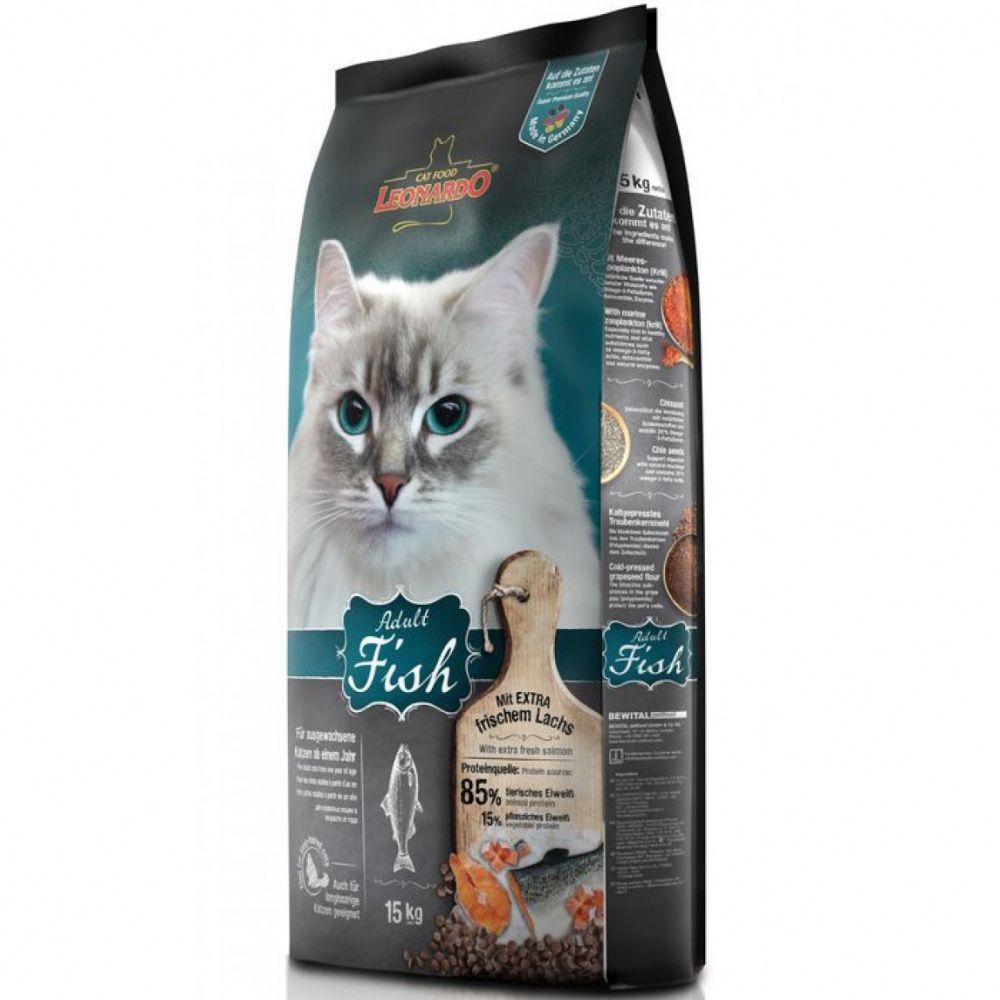 цена на Корм для кошек Leonardo для здоровья кожи и шерсти, рыба с рисом сух. 15кг