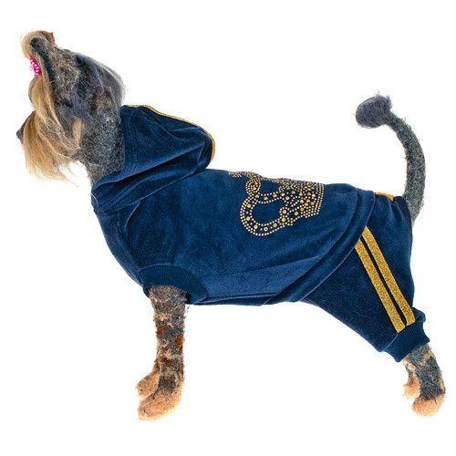 Комбинезон для собак HAPPY PUPPY Гламур велюровый синий-3 28см