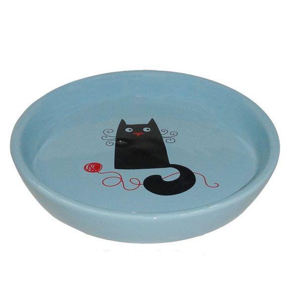 Миска для животных Foxie Кошка с клубком голубая керамическая 15х2,5см 210мл фото