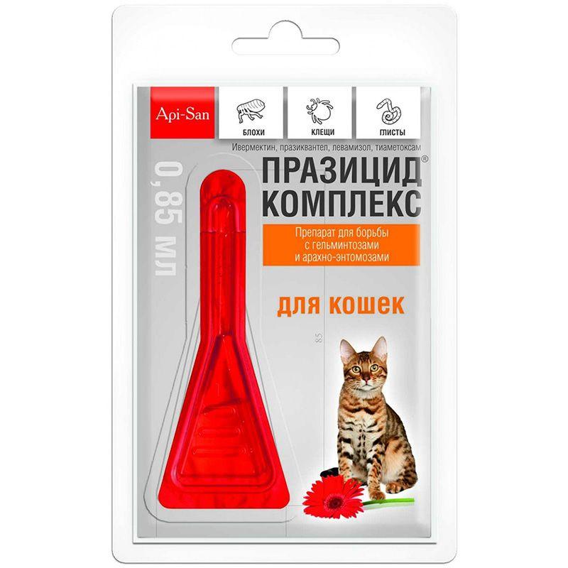 Празицид-комплекс Apicenna (API-SAN) для кошек 1 пипет. api san api san раносан мазь ранозаживляющая для кошек и собак 10 г