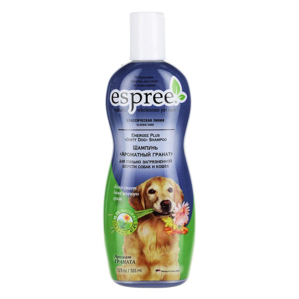 Шампунь для собак и кошек ESPREE Dirty Dog Ароматный гранат для сильнозагрязненной шерсти 355 мл шампунь espree energee plus durty dog shampoo ароматный гранат для сильнозагрязненной шерсти собак и кошек 3790 мл