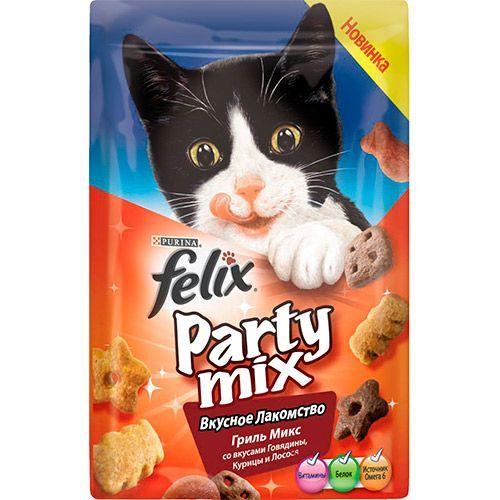 Лакомство для кошек FELIX Party mix Гриль Микс 20г цена 2017