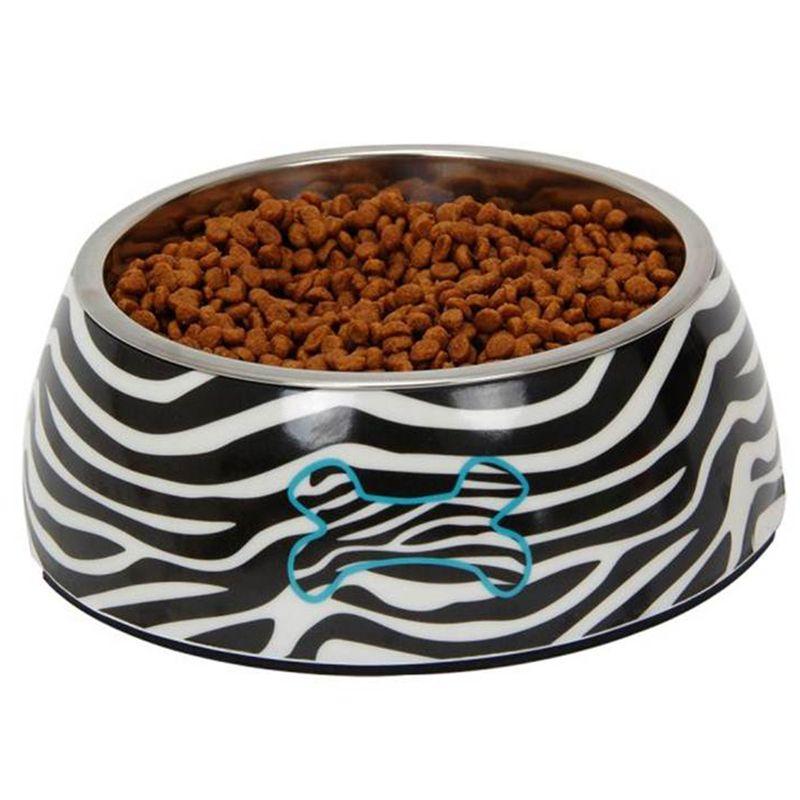 Миска для животных MAJOR Zebra металл на меламиновой подставке, 380мл