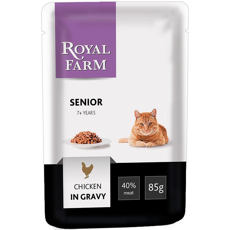 Корм для кошек ROYAL FARM старше 7 лет курица в соусе конс. пауч 85г недорого