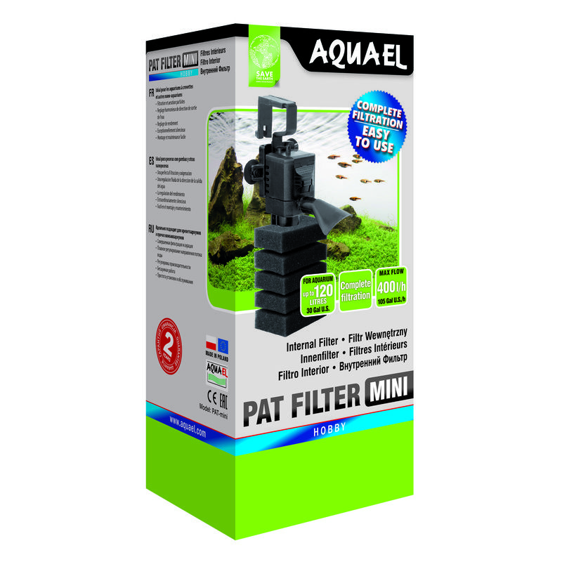 Фото - Внутренний фильтр AQUAEL PAT FILTER MINI для аквариума до 120 л (400 л/ч, 4 Вт) внутренний фильтр aquael fan filter 3 plus для аквариума 150 250 л 700 л ч 12 вт