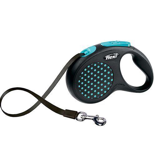 Рулетка для собак Flexi Design S до 15кг, 5м лента черная/голубой горошек