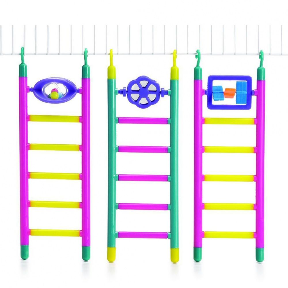 Лестница для птиц Beeztees пластмассовая с игрушкой 6 шагов, в ассорт. 21см