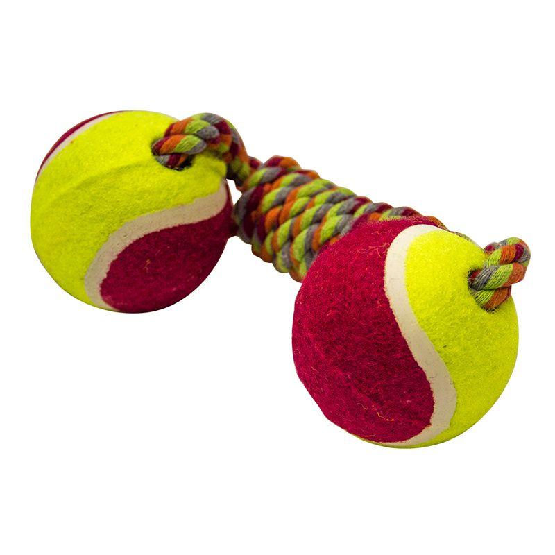 Игрушка для собак MAJOR Гантель из каната с теннисными мячами 25см