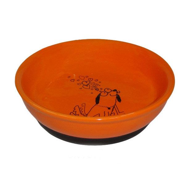 Миска для животных Foxie Собака оранжевая керамическая 15,5х4,5 см 330мл недорого
