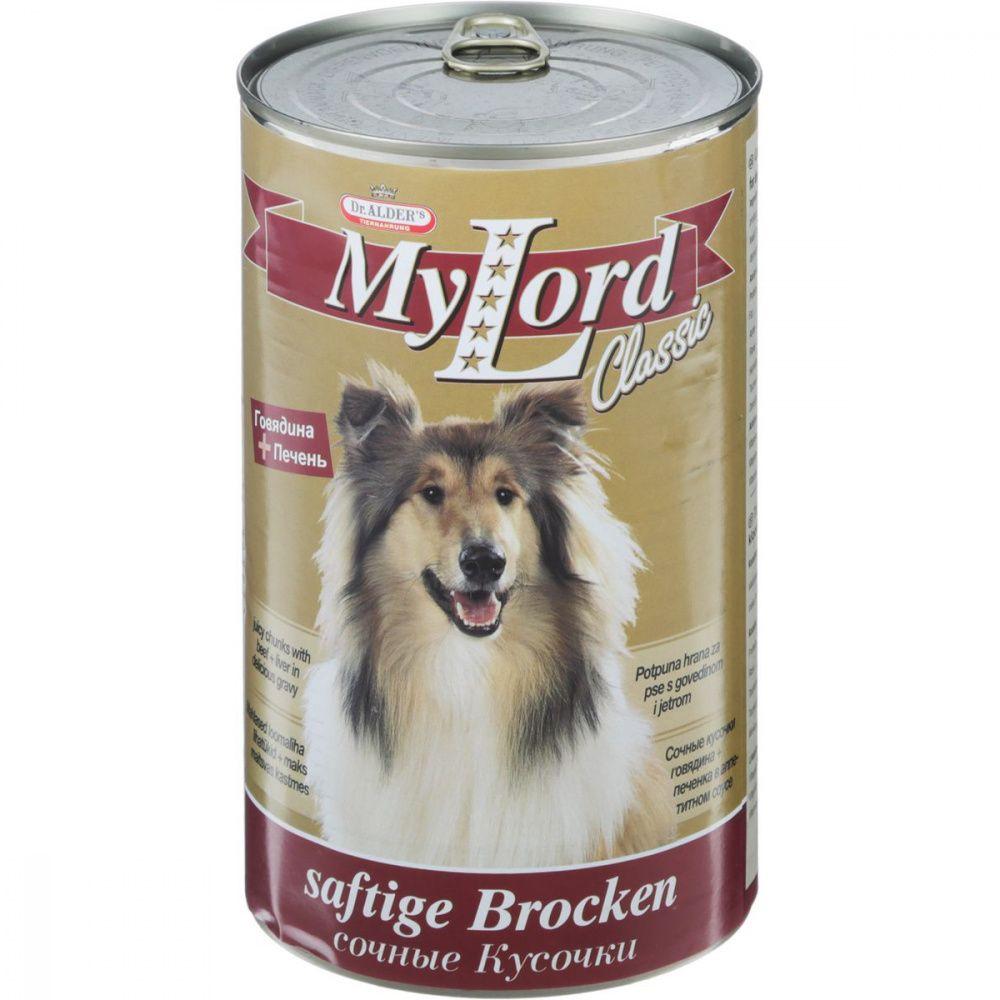 Корм для собак Dr. ALDER`s Мой Лорд Классик кусочки в соусе Говядина, печень конс. 1230г