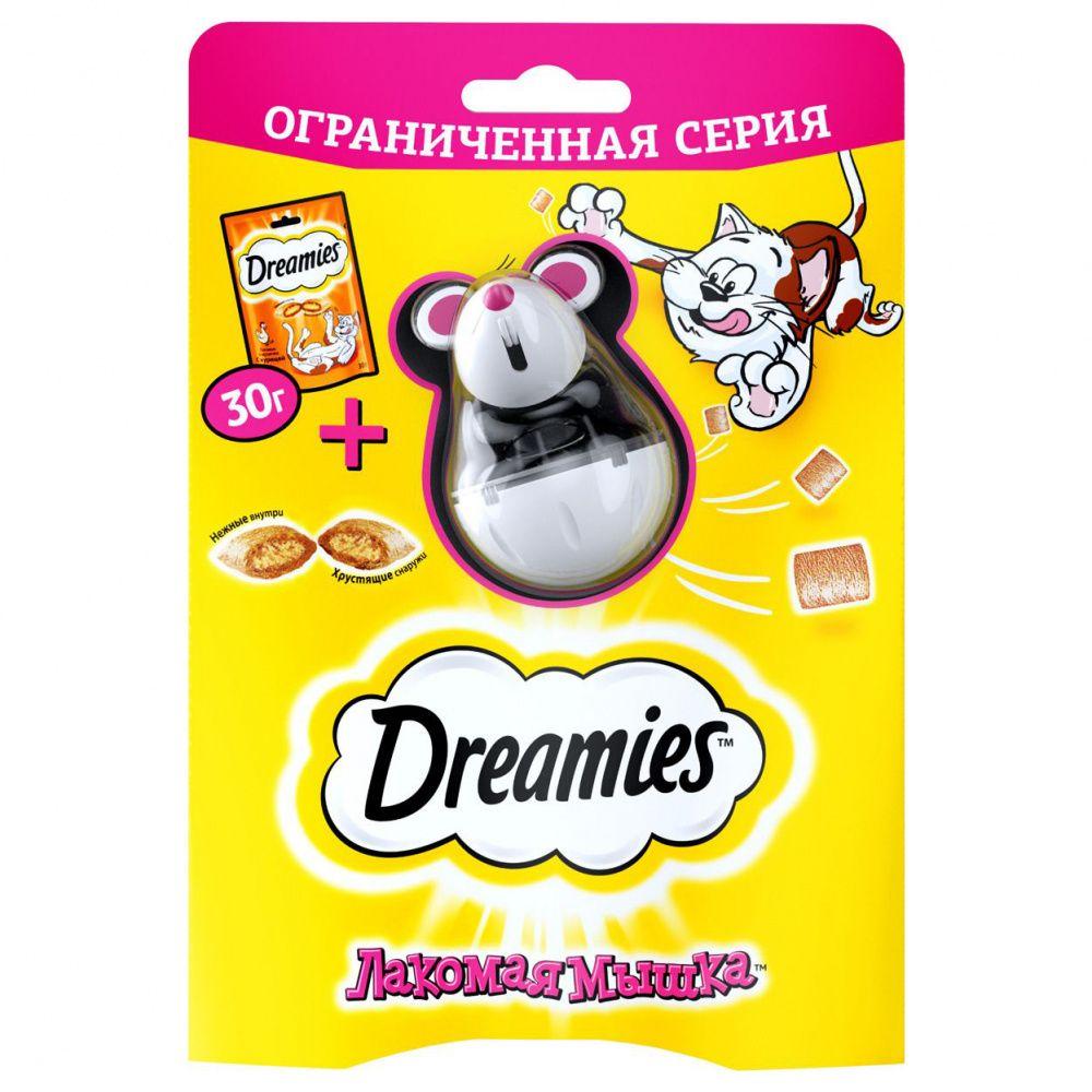 Лакомство для кошек Dreamies Лакомая мышка, с курицей 30г dreamies dreamies лакомые подушечки для кошек с курицей 30 г