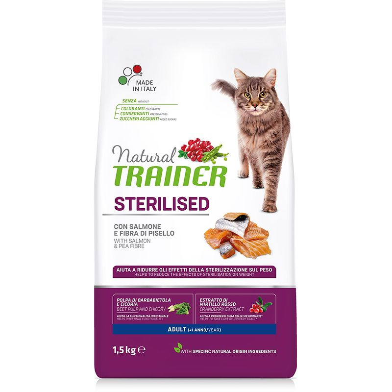 цена Корм для кошек TRAINER Natural Adult Sterilised для кастрированных, лосось сух. 1,5кг онлайн в 2017 году
