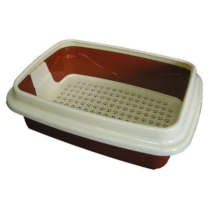 Туалет для кошек Dogman Триплекс с сеткой и бортом большой 48х37х12см