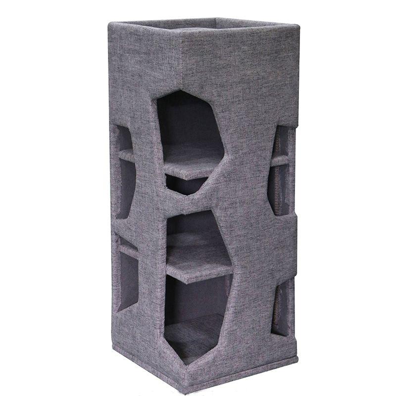 Когтеточка для кошек Foxie Tower 41х41х100см серая