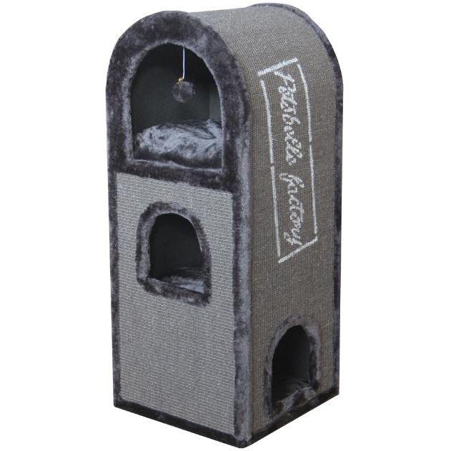 Дом-когтеточка для кошек Foxie Лондон 40х40х100см серый