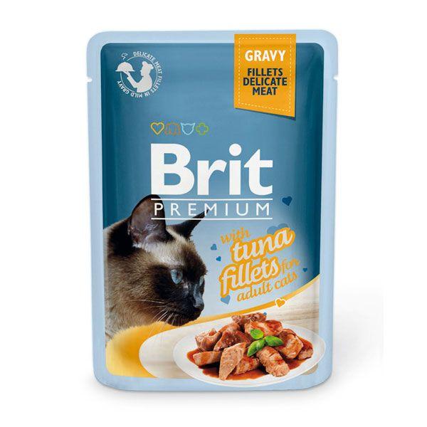 цена Корм для кошек Brit Premium Cat Gravy Кусочки из филе тунца в соусе пауч 85г онлайн в 2017 году