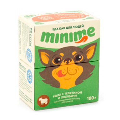 Корм для щенков Minime Мясной ролл с телятиной и овощами конс. 100г