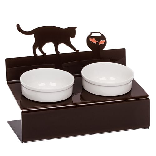 Миска для животных АртМиска Кот и рыбы двойная на подставке, коричневая, 2x350 мл артмиска миска для животных artmiska щенок и миска двойная на подставке черная 2 шт x 350 мл