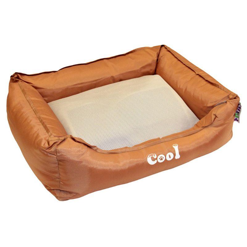 Лежак для животных Foxie Cooling с охлаждающим ковриком 61х48х18см коричневый