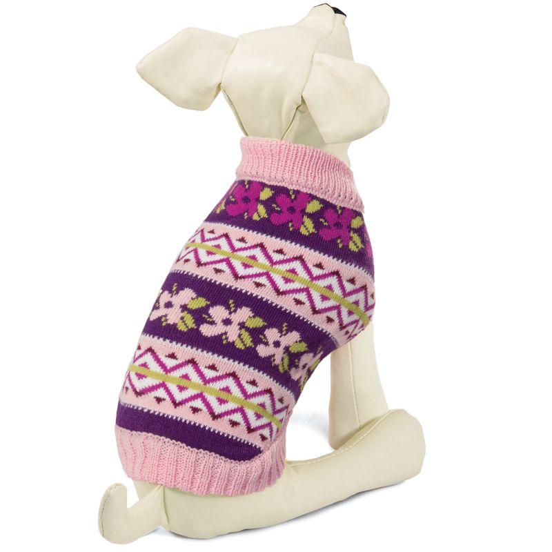 Свитер для собак TRIOL Цветочки S, розово-фиолетовый, размер 25см