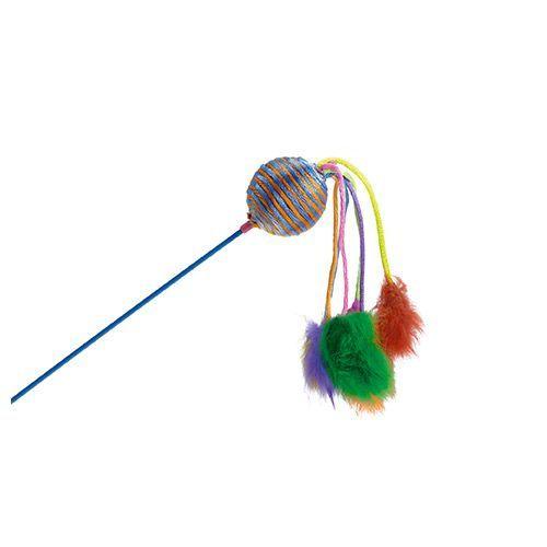 Игрушка для кошек Beeztees Дразнилка с шариком и с 6 помпонами 60см цена 2017