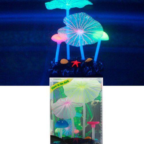 Декор для аквариумов JELLYFISH Микс из растений силикон (листья лотоса 2шт, грибы 2шт), 7х3,5х10см другое fitness boutique ледоходы 2шт