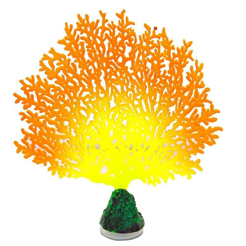 Декор для аквариумов GLOXY Флуоресцентный Коралл веерный оранжевый 13,5х3х16см jd коллекция флуоресцентный оранжевый женщина 36