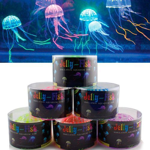 Декор для аквариумов JELLYFISH Медуза силиконовая с неоновым эффектом, средняя, D=7,5cм декор для аквариумов jellyfish листья лотоса голубые силиконовые 4шт 7х3 5х10см