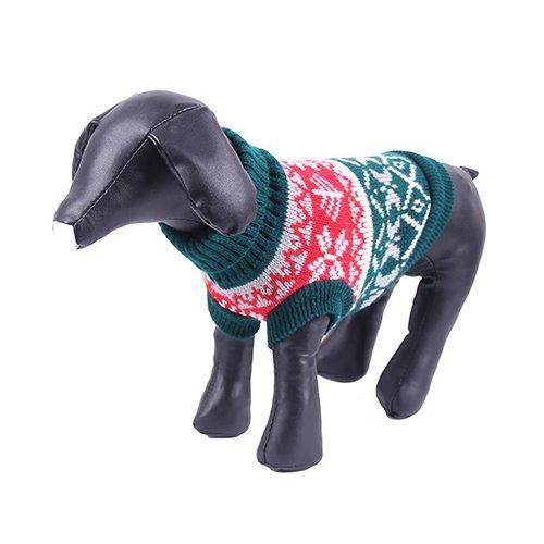 Свитер для собак PrettyPet красно-зеленый  размер XL, спина 35см