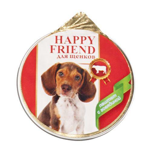 Корм для щенков HAPPY FRIEND Паштет с говядиной конс. 125г