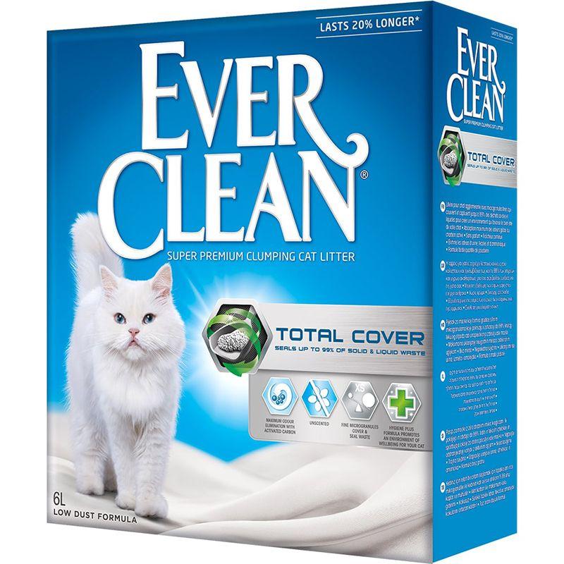 Наполнитель для кошачьего туалета EVER CLEAN Total Cover комкующийся с микрогранулами 6 литров наполнитель для кошачьего туалета ever clean aqua breeze комкующийся аромат морской бриз 10л