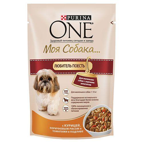 Корм для собак PURINA ONE Моя Собака курица, рис, томаты, конс. пауч 100г