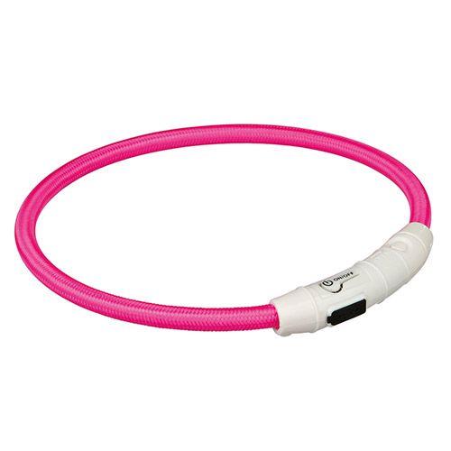 Ошейник светящийся для собак TRIXIE Мигающее кольцо USB M–L: 45см 7мм нейлон розовый USB