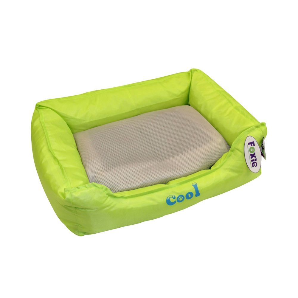 Лежак для животных Foxie Cooling с охлаждающим ковриком 47х37х17см зеленый