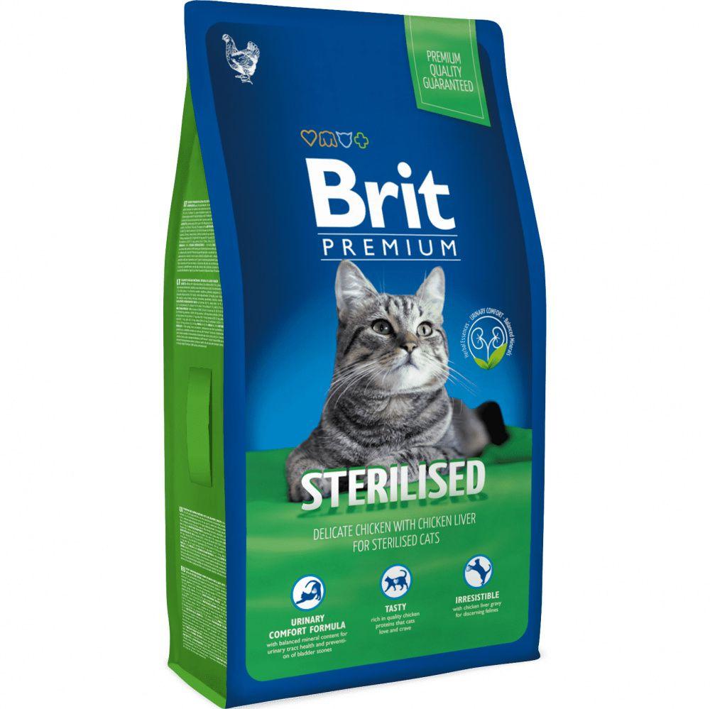 Корм для кошек Brit Premium Cat Sterilised для кастрированных котов, курица, куриная печень сух. 1,5кг