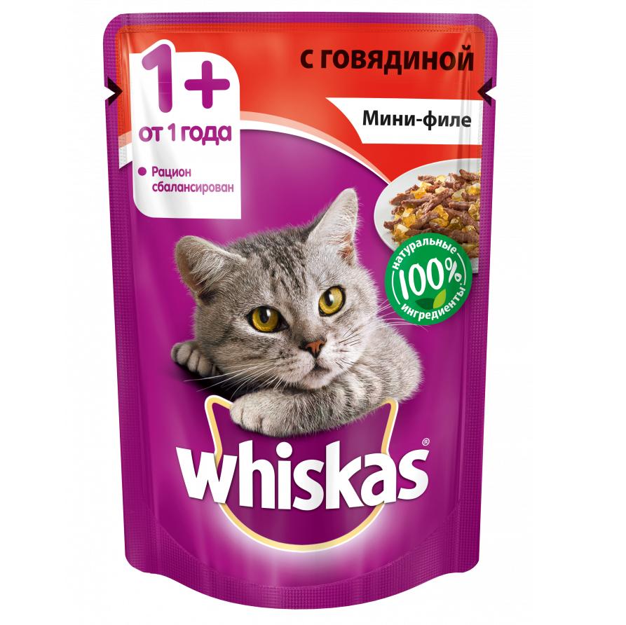 Корм для кошек Whiskas мини-филе говядина желе конс. пауч 85г для ванны желе