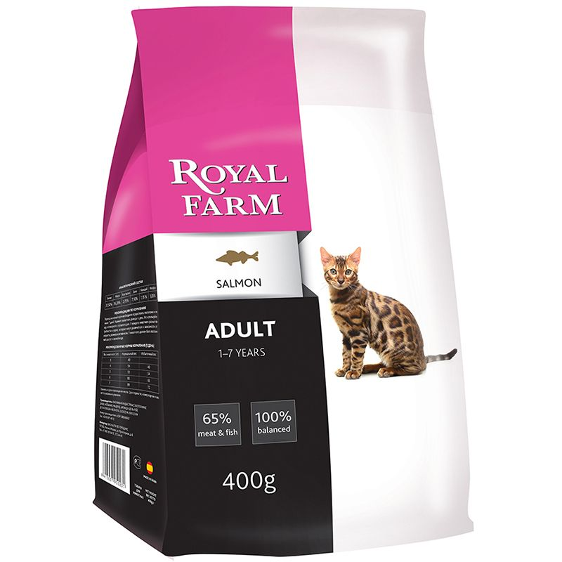 цена Корм для кошек ROYAL FARM лосось сух. 400г онлайн в 2017 году