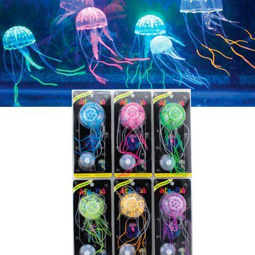 Декор для аквариумов JELLYFISH Медуза силиконовая с неоновым эффектом, маленькая, D=5см цена в Москве и Питере