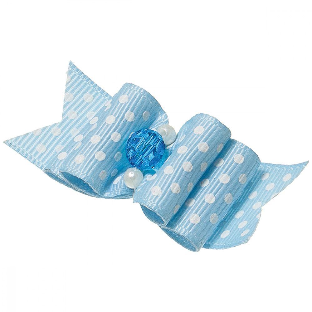 Бантик V.I.PET Ностальжи (пара) голубой в горошек, тройной объёмный 5,5х2,2см