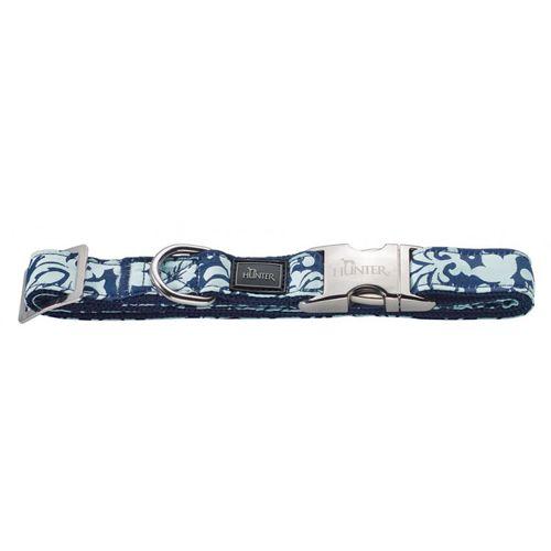 Ошейник для собак HUNTER Baroque ALU-Strong L нейлон синий с рисунком 45-65см цена 2017