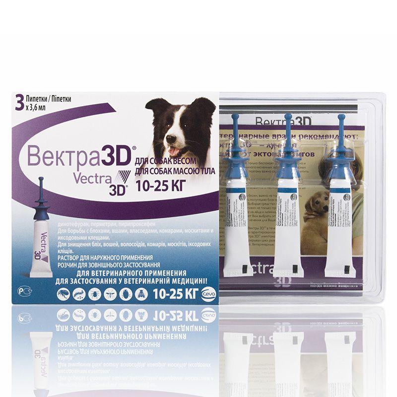 Капли для собак CEVA Вектра 3D 10-25кг инсектоакарицидные 3,6мл, 3 пипетки
